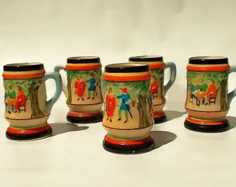 Medieval 5 piece mug set, ceramic