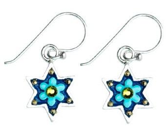 Flower Star of David Earrings by Ester Shahaf