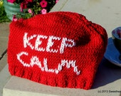 PATTERN  Keep Calm Carry On Tea Cozy Knit in Washable Cotton Cosy to Keep your Teapot Warm, Customizable, will fit most tea pots