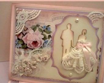 Trifold Handmade Wedding Vintage Invitation Card Bride & Groom
