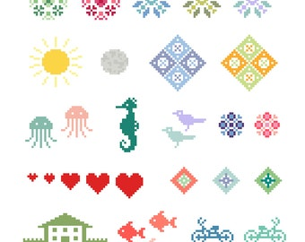 Small Motif Collection - Cross Stitch Patterns - Instant Download PDF Pattern