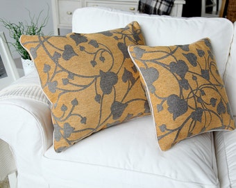 20 x 24 Inches Chenille Modern Minimalist Yellow Pillow Cushion Covers