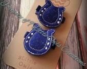 Set of 2 Blue Horseshoe Colt Inspired Hair Clip Felties - baby girl clip, girl clip, adult clip, birthday gift, babyshower gift, football