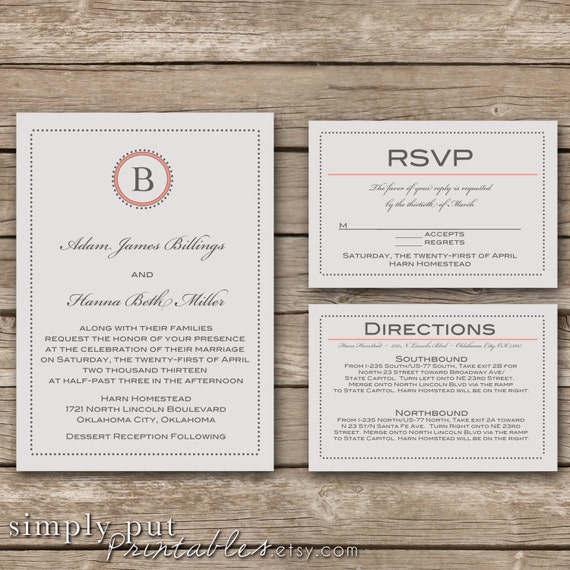 Gray Wedding Invitation Suite | Simple Dots Wedding Invitaiton | Initial Wedding Suite | Custom Color | Printable Digital File Printable