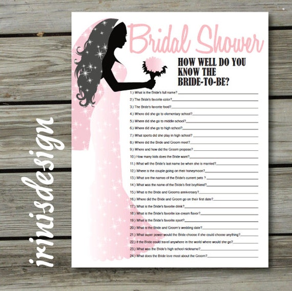 Items Similar To Bridal Shower Game, Quiz, How Well Do You