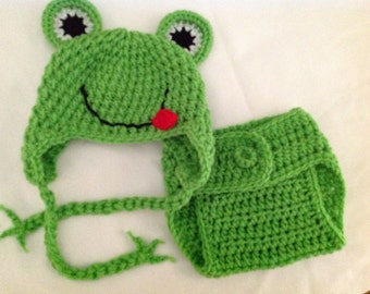 Baby Crochet Frog Hat and Diaper Cover - Green, White, Red, and Black