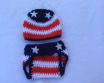 American Flag - July 4Th - Patriotic -Baby Crochet Hat and Diaper Cover .