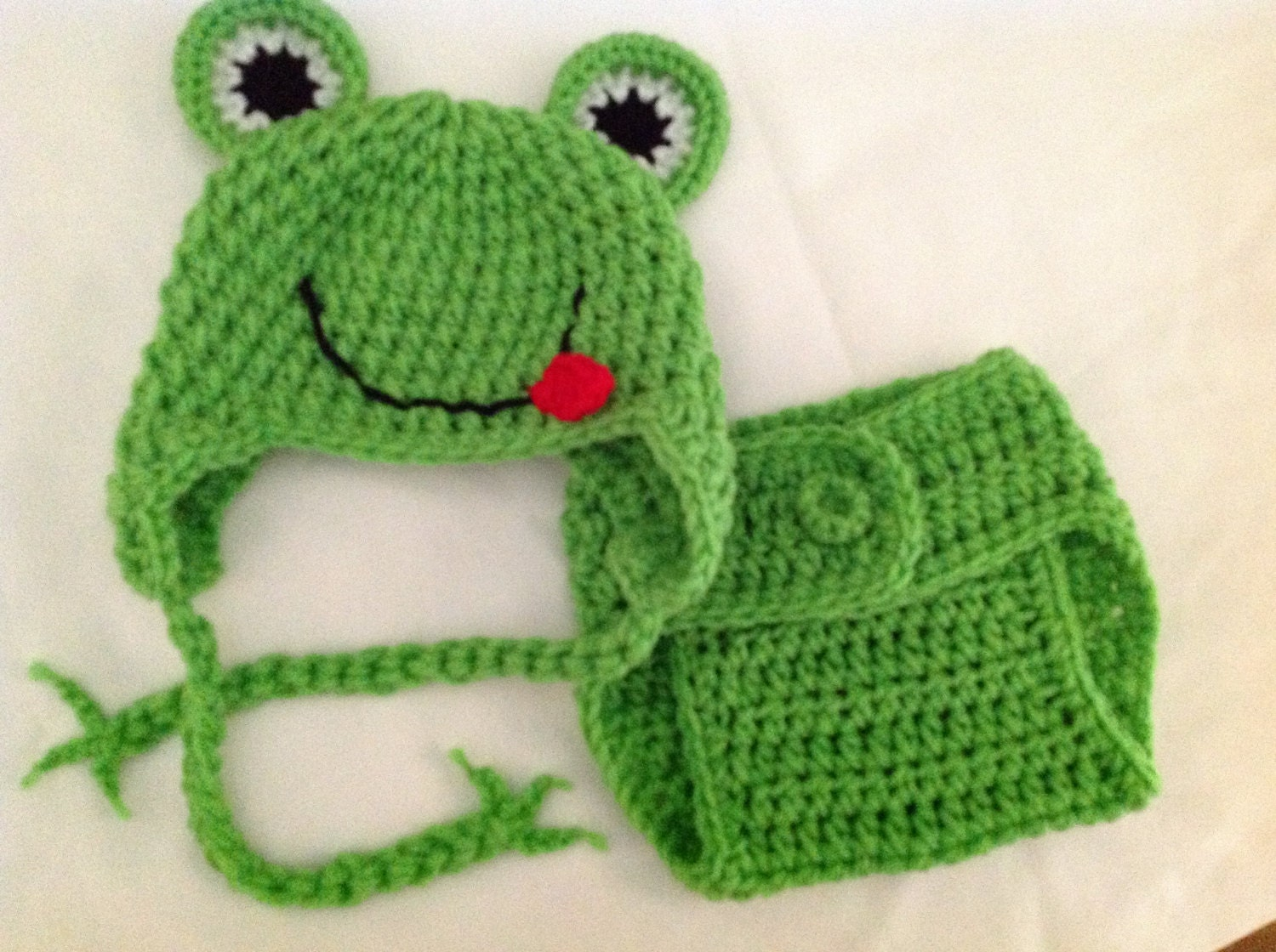 FREE SHIPPING Baby Crochet Frog Hat and Diaper Cover