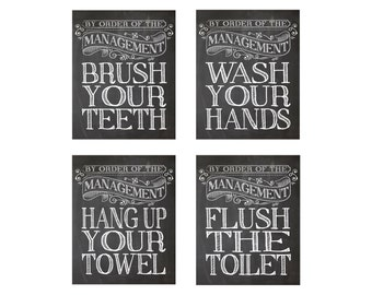 Bathroom Prints - Kids bathroom, Wash your hands, Brush your teeth, Hang your towel, flush the toilet