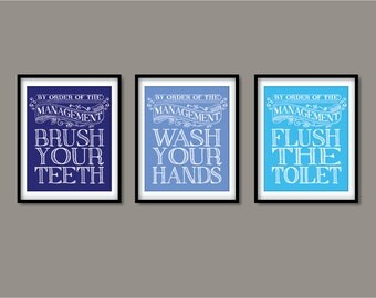 Kids Bathroom Art Prints, Wash Your Hands, Brush Your Teeth, Children's Bathroom Wall Art - Bathroom rules - Art for the bathroom
