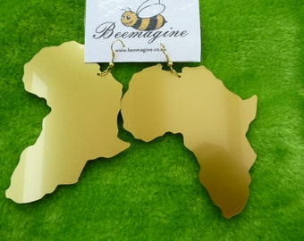 Large Africa gold colour earrings laser cut from metallic acrylic