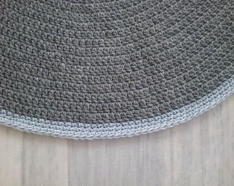 Knitting Pattern For Round Rug : Items similar to Crochet Rug ,Round Rug, Cotton Rug, Knitted Rug, Gray Rug, H...