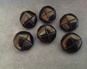 "Black leather button set. Size 5/8"" (16mm). Set of 6"