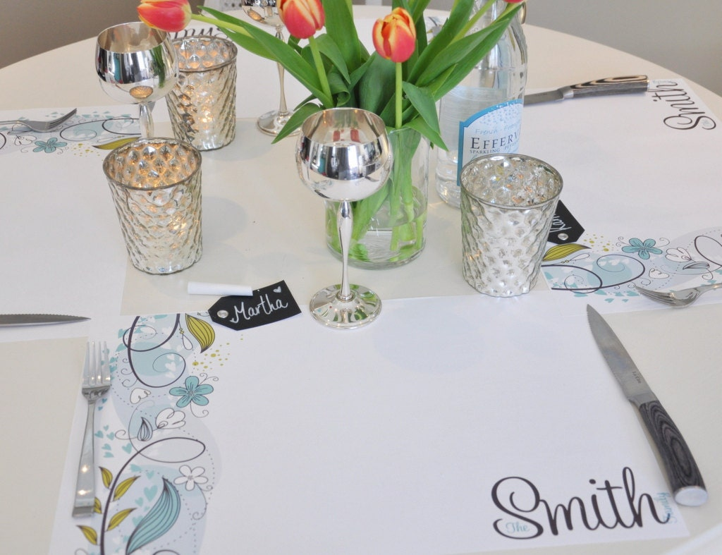 personalized paper placemat set    robin u0026 39 s egg flowers and