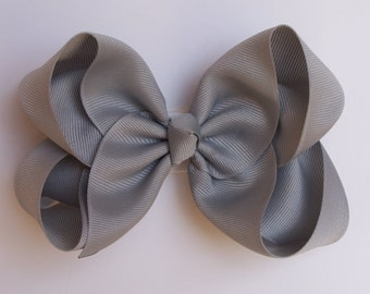 Gray Large Boutique Bow Girls Big Hair Bow Girls Bow Jumbo Bow Gray Hair Bow