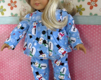 18 Inch Doll Pajamas, Girl Doll Clothes, Blue Snowman Pajamas sized to fit 18 Inch dolls such as American Girl dolls