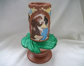Hand Painted Ceramic Nativity Scene Candle Holder Christmas Decoration