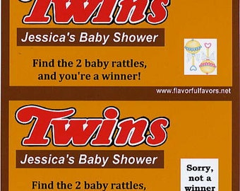 Twins baby shower favors scratch off tickets -set of 10