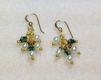 Dangle Earrings, Glass Pearl, Swarovski Crystal Emerald Green AB Bicones, Gold Plated Cluster Earrings