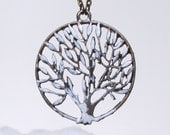 Long tree necklace - snowy tree pendant - winter tree necklace - long necklace - winter jewellery