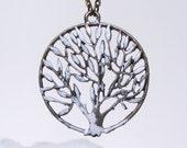 Long tree necklace - snowy tree pendant - winter tree necklace - long necklace - winter jewellery
