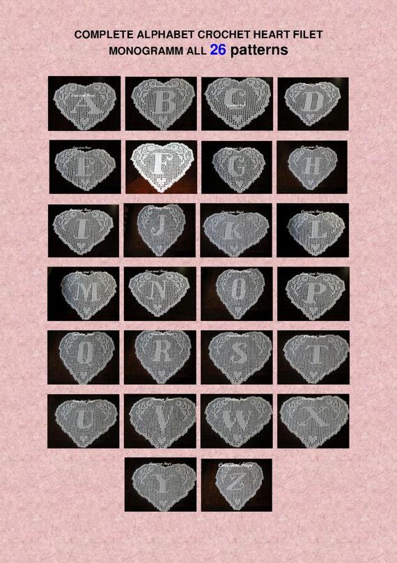 Connu 26 PATTERN crochet doily filet schema alphabet complete cuore TN78