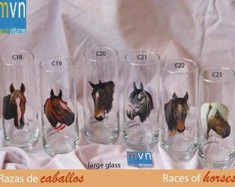 Races of horses, drinking glasses,  hand painted horse glasses