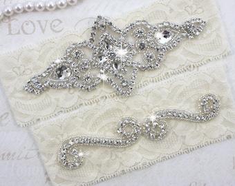 SALE - CHLOE - Wedding Garter Set, Wedding Stretch Lace Garter, Rhinestone Crystal Bridal Garters