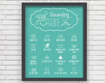 Home Decor Blue Laundry Room Art Print - 24x36 Laundry Room Decor