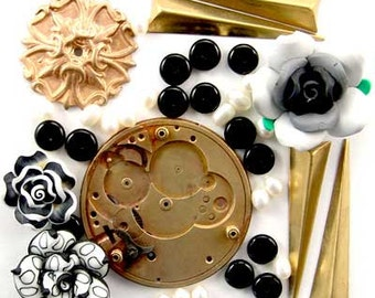 Steampunk Pocket Watch Platene, Brass, Fimo Flower, Pearl, Onyx, Enchanted Flower Garden Bead Set  16924