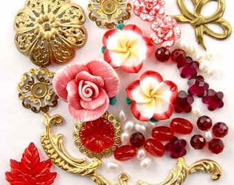 Red Fimo Flower, Brass, Filigree, Pearl, Glass, Enchanted Flower Garden Bead Set 16931