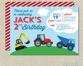 Boy's Truck Birthday Party Invitation