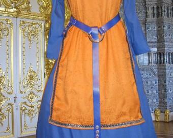 Renaissance Medieval SCA Garb Costume Gold Damask Tabard Ctn Kirtle Undergown 2pc Sz Flex LXL