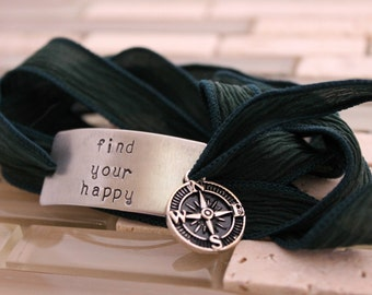 "Custom Silk Wrap Bracelet - ""Find Your Happy"" Bracelet - Hand Stamped - Personalized - Hand Dyed Silk Ribbon -"