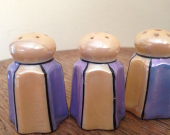 Lovely Set of (3) Miniature  Lusterware Salt and Pepper Shakers from Japan