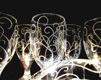 Water glasses etched with scroll/swirl. Set of 6. Etched glassware, wedding gift, iced tea glasses.