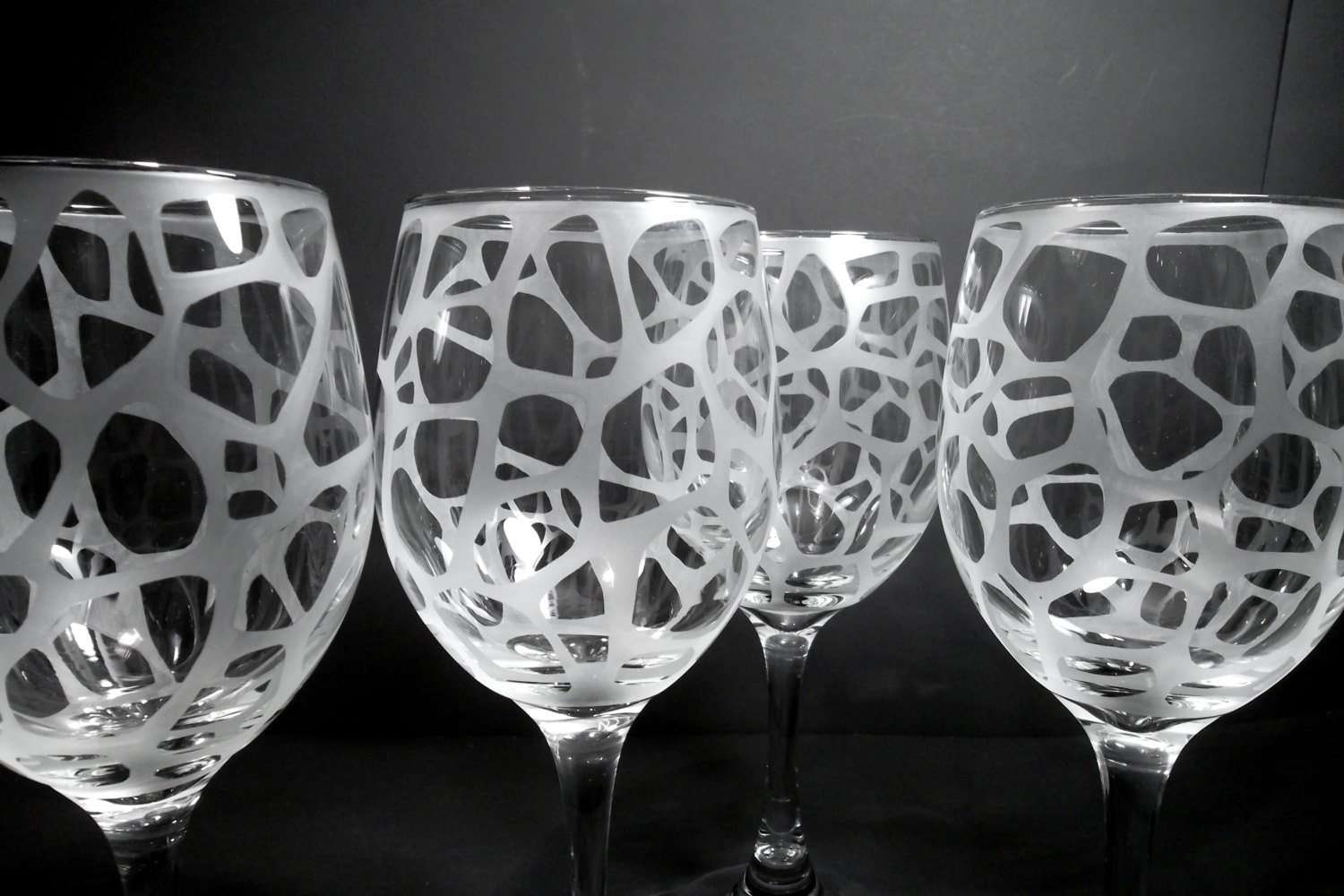 Etched Wine Glasses Wedding Gifts : Etched wine glasses. Set of 4. Wedding gift bridesmaid gift