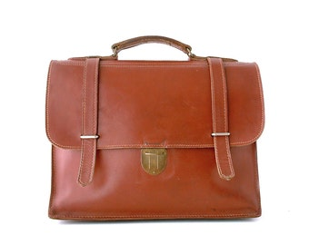French vintage genuine leather briefcase schoolbag. Laptop case