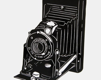 Old Kodak Camera art - camera linocut print, retro camera print, vintage camera wall art