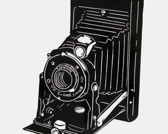 Old Kodak Camera art - camera linocut print, retro camera print, vintage camera wall art