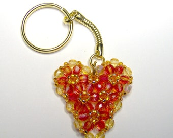 Blood orange heart keyring, heart keychain, beaded keyring, beaded heart, beadwork keyring, anniversary gift, valentine gift, orange keyring