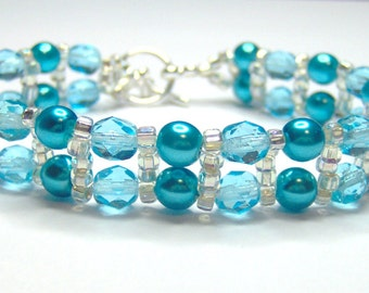CLEARANCE Turquoise bracelet, turquoise and silver, beaded bracelet, beadwork bracelet, turquoise pearls, turquoise crystal BR018