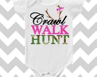 Crawl Walk Hunt Custom Color Baby GIRL Bodysuit by Simply Chic Baby Boutique
