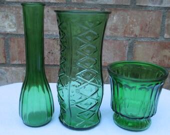 Forest/Emerald Green Glass Vases, Hooiser, EO Brody, Set of 3