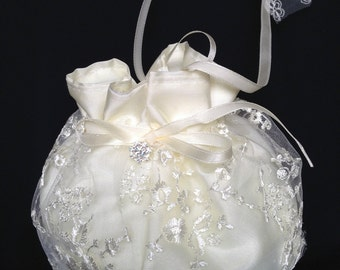 Bridal Purse, Wedding Money Bag, Ivory or White Lace Bridal Bag, Wedding Purse