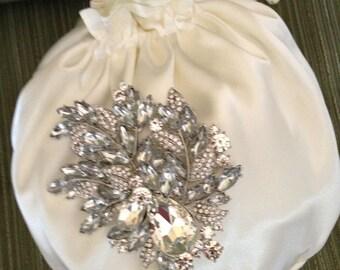 Satin Bridal Bag,  Satin Wedding Purse, Money Dance Bag, White Satin Bag, Ivory Satin Bag, Bridal Purse