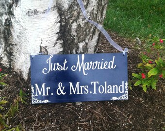 Just Married Sign Last Name Sign Wedding Signs Here Comes The Bride Sign Double Sided Personalized Wedding Signs