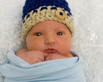 Baby Boy Hat - Chunky textured Newborn Hat- Navy and Beige-Newborn Gift - Newborn Photography Prop