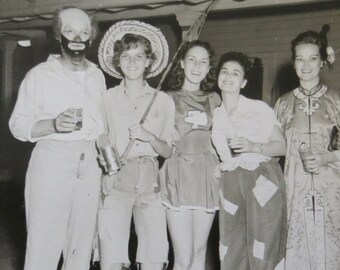 Awesome 1950's  Adult Halloween Costume Party Snapshot Photo - Pretty Ladies