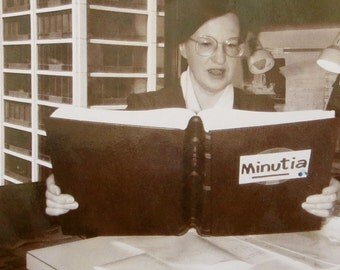 Caught Up In The Minutia 1960's Librarian Snapshot Photo - Free Shipping
